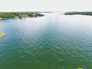aerial water view of 225 Cedar Ridge home